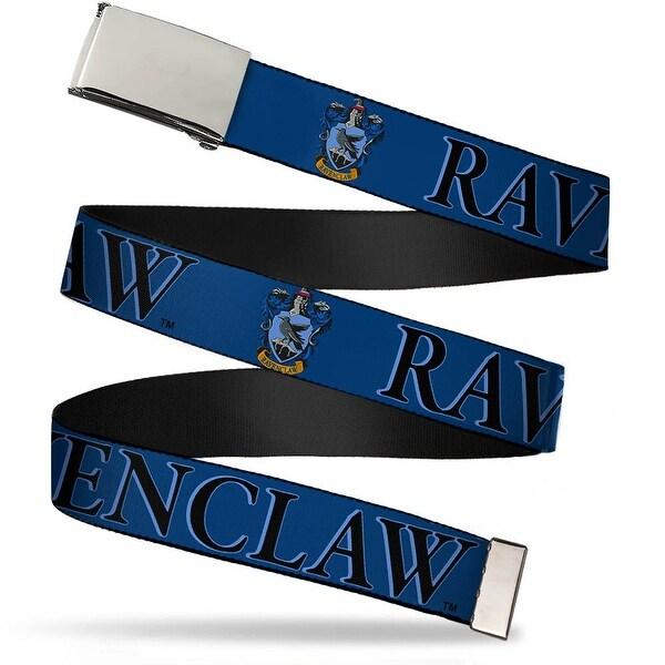 Blank Chrome Bo Buckle Harry Potter Ravenclaw & Crest Blue Black Web Belt