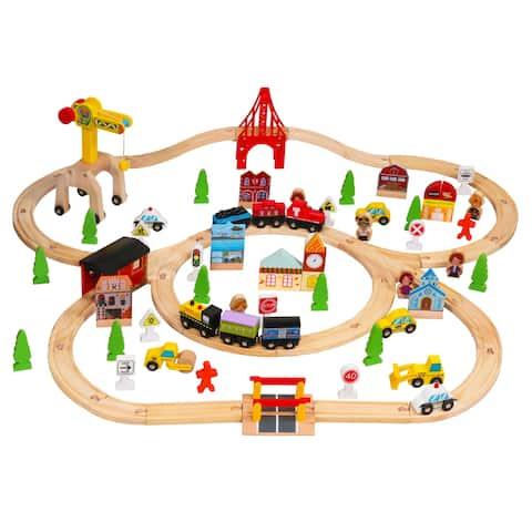 100pcs Wooden Train Set Learning Toy Kids Children Rail Lifter
