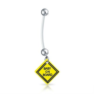 Bling Jewelry Bioflex Baby on Board Sign Pregnant Belly Ring 316L Steel