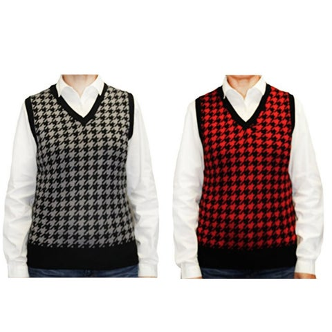 Blue Ocean Women's Houndstooth Sweater Vest (LSV-269)