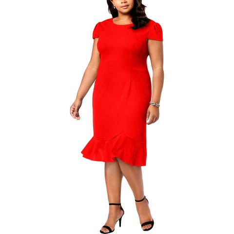 Betsey Johnson Womens Plus Cocktail Dress Cap Sleeves Mid-Calves - 22W