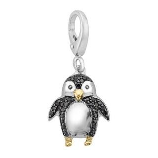 1/6 ct Black Diamond Penguin Charm in Sterling Silver & 14K Gold