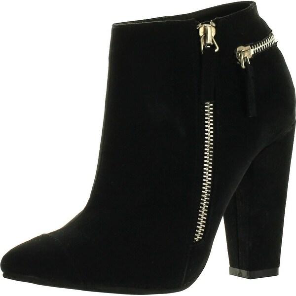 Static Footwear Chayo-1 Women's Almond Toe Side Zipper Wrapped Chunky Heel Ankle Booties
