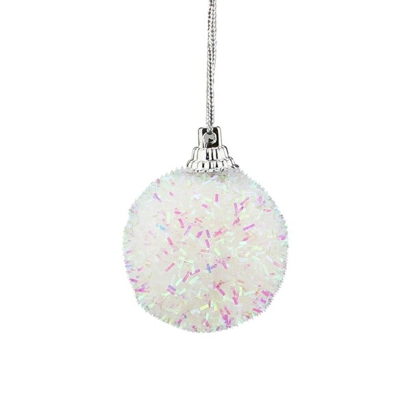 """Pack of 7 Decorative Iridescent White, Pink and Green Bristled Christmas Ball Ornaments 1.5"""""""