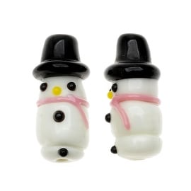 Lampwork Glass Novelty Christmas Beads, Snowman with Scarf 29.5mm, 2 Pieces, Pink and White