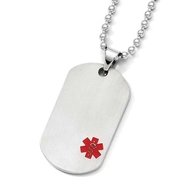 Chisel Titanium Medical Jewelry Dogtag Pendant on Stainless Steel 22in Necklace (2 mm) - 22 in