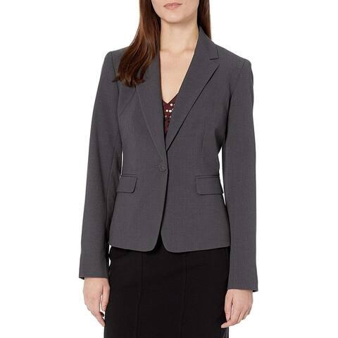 Nine West Women's Jacket Dark Gray Size 14 One Button Bi Stretch