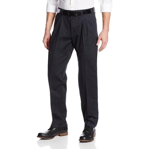 e913c358 Shop Lee Black Mens Size 30X30 Stain-Resistant Relaxed-Fit Pleated ...