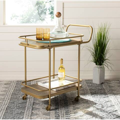"Safavieh Gaia 2 Tier Rectangle Bar Cart-Rustic Oak / Gold - 30"" x 18"" x 32"""