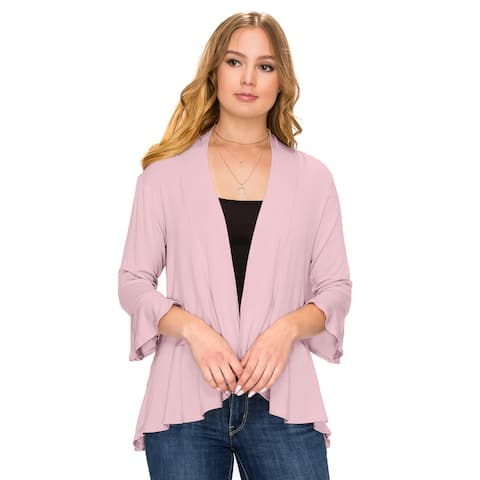 Simply Ravishing Women's Flare Hem 3/4 Bell Sleeve Cardigan