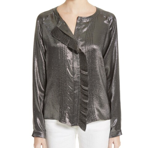 Belstaff Silver Black Women Size 44 US Medium M Button Down Blouse
