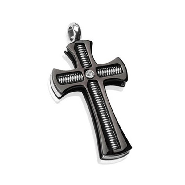 316 Stainless Steel PVD Black Gothic Coil Centered Gem Cross Pendant (25 mm Width)