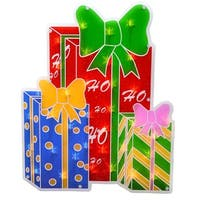 """17"""" Lighted Double-Sided Shimmering Christmas Presents Window Silhouette - multi"""
