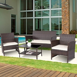 Costway 4 PCS Outdoor Patio Rattan Furniture Set Wicker Sofa Table Shelf Cushion