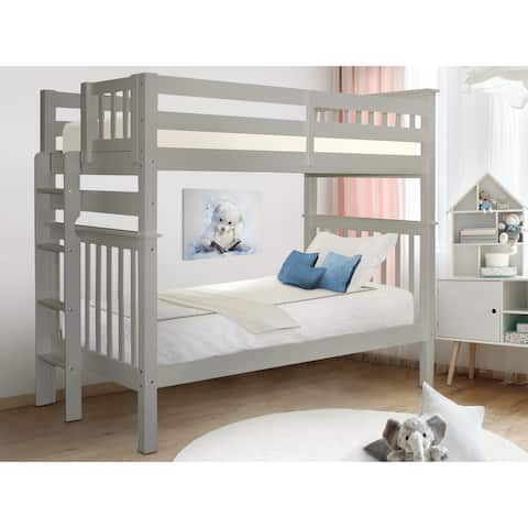 Taylor & Olive Trillium Tall Twin over Twin Bunk Bed with End Ladder