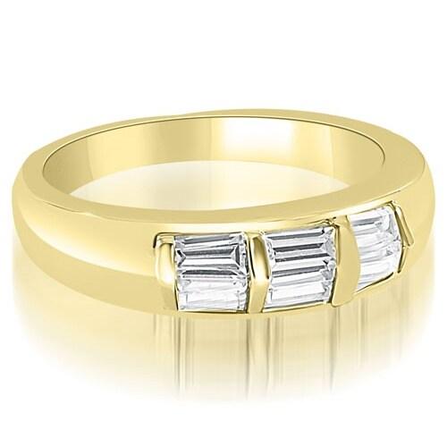 0.70 cttw. 14K Yellow Gold Bar Set Baguette Diamond Wedding Band