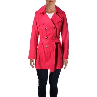 DKNY Womens Trench Coat Pleated Double-Breasted