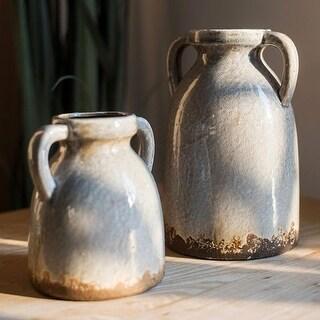 RusticReach Binglie Glazed Pottery Vase with Handles