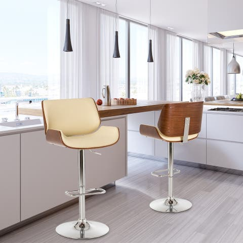 Glitzhome Mid-century Modern Height-adjustable Swivel Bar Stool