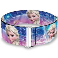 Elsa The Snow Queen Poses Castle & Snowy Mountains Blue Pink Fade One Size Sinch Waist Belt  ONE SIZE