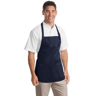A510 Medium Length Apron with Pouch Pocket, Navy - One Size