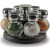 Palais Glassware Tournant Collection, Revolving Countertop Carousel Herb and Spice Rack with 3.5 Oz Glass Jars - Set of 6 Jars