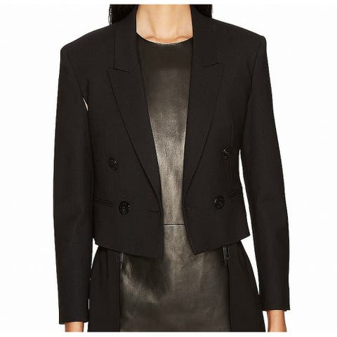 Neil Barrett Black Womens Size 42 US 6 Double-Breasted Crop Jacket