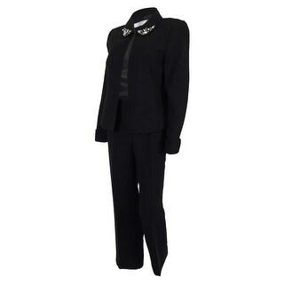 Tahari Women's Louisa Embellished-collar Pant Suit