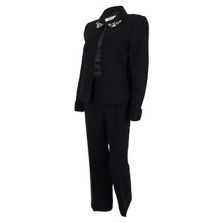Tahari Women's Louisa Embellished-collar Pant Suit - Black
