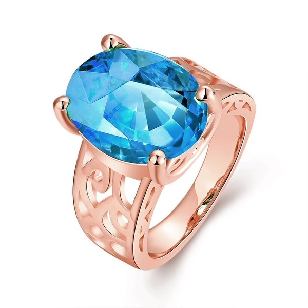 Saphire Center Rose Gold Ring