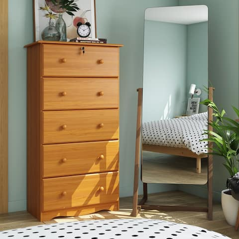 Solid Wood 5-Super Jumbo Drawer Chest with Lock by Palace Imports