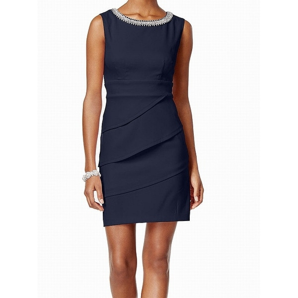79ca76a8 Shop Connected Apparel Navy Blue Embellished Tiered 12 Sheath Dress - Free  Shipping On Orders Over $45 - Overstock - 27194938