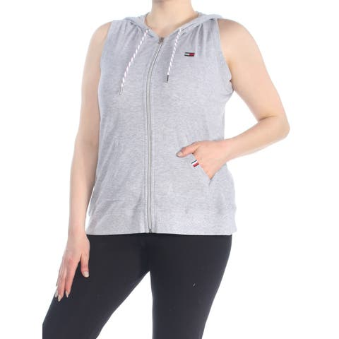 TOMMY HILFIGER Womens Gray Hooded Sleeveless Active Wear Sweater Size: XL
