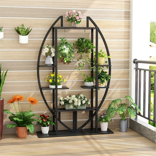 Shop 5 Tier Plant Stand 2 Pack Multi Story Flower Rack For Garden Patio Overstock 30393784 Rustic Brown
