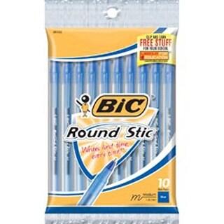 Blue - Bic Round Stic Medium Ballpoint Pens 10/Pkg