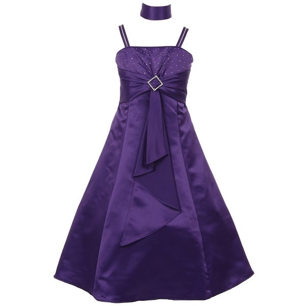 271752364 Shop Girls Purple Rhinestone Brooch Dull Satin Special Occasion Dress 8-14  - Free Shipping Today - Overstock - 19293416