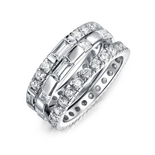 Bling Jewelry 925 Silver 3 Piece CZ Baguette Round Eternity Stackable Ring