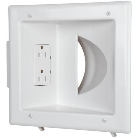 DATACOMM ELECTRONICS 45-0031-WH Recessed Low-Voltage Media Plate with Duplex Receptacle - Pictured
