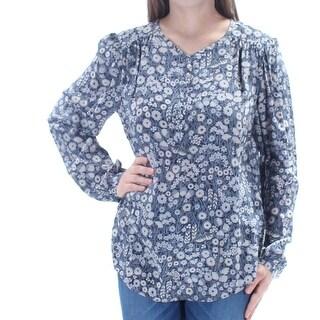 REBECCA TAYLOR $275 Womens New 1403 Navy Floral V Neck Long Sleeve Top 10 B+B