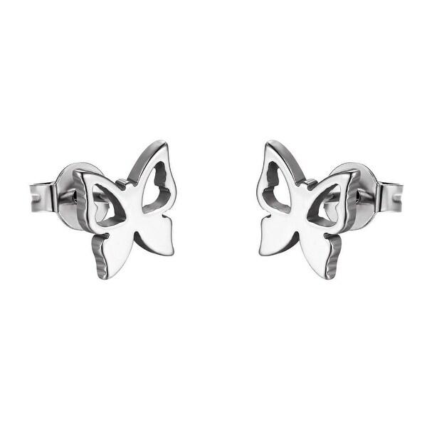 Butterfly Design Earrings Stainless Steel Studs Silver Tone Womens Ladies Girls