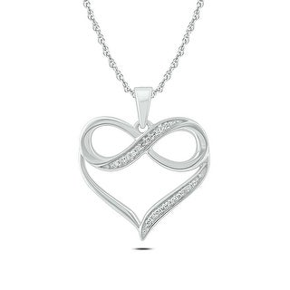Link to Cali Trove 10kt White Gold 1/20ct TDW Infinity Heart Pendant Necklace Similar Items in Necklaces
