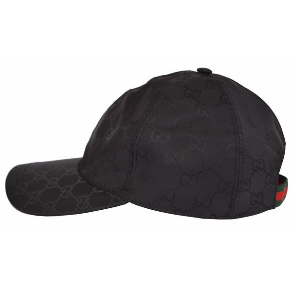 b5469e7a Gucci Men's 387578 Black Nylon GG Guccissima Web Stripe Baseball Cap  Hat