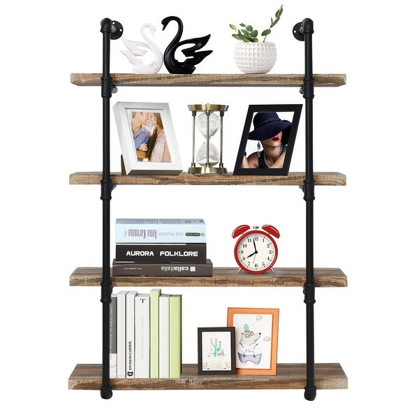Costway 4-Shelf Rustic Pipe Shelving Unit, Vintage Industrial Pipe Wall Shelf Brown - Wood Grain