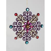 "5.75"" Purple Glitter Snowflake with Gems Christmas Ornament"