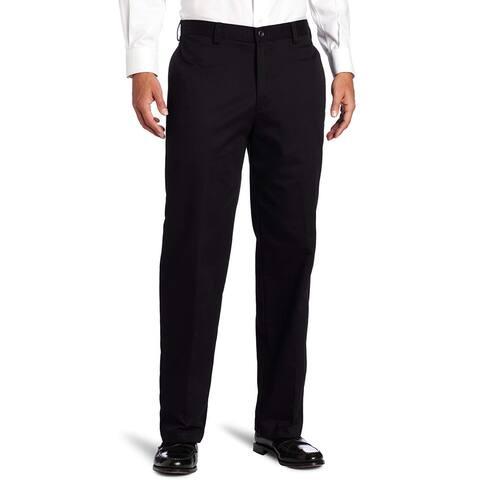IZOD Men's American Chino Flat Front Pant, Black, 40W x, Black, Size 40W x 32L - 40W x 32L