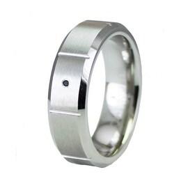 Beveled Superior Cobalt Ring with Black Diamond