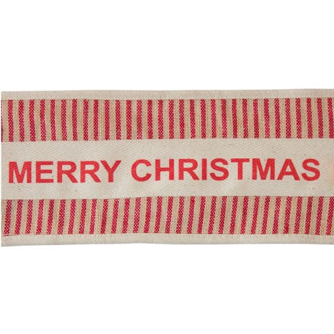 """Pack of 4 Beige and Red Striped Christmas Wired Cotton Ribbons 4"""" x 5 Yards"""