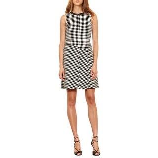 Lauren Ralph Lauren Houndstooth Overlay Sleeveless Dress
