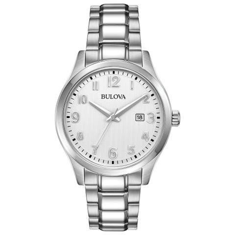 Bulova Men's 96B300 Stainless White Dial Bracelet Watch - Silvertone
