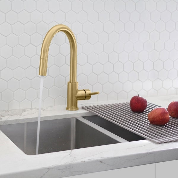 """Modern Single Handle Pull down Sprayer Kitchen Faucet in Gold Stainless Steel - Faucet height: 14"""" Spout height: 7"""". Opens flyout."""